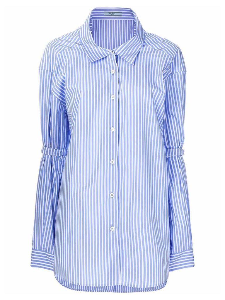 Prada pinstriped oversized shirts - Blue
