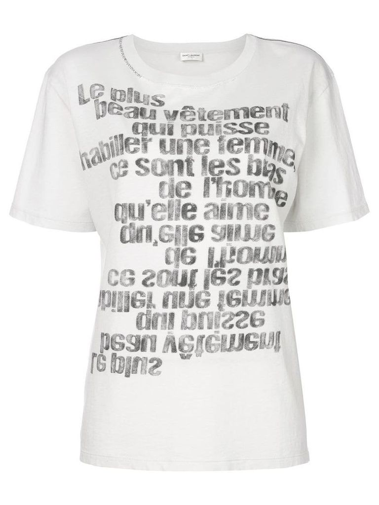Saint Laurent mirrored slogan print T-shirt - White