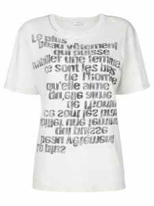 Saint Laurent mirrored slogan print T-shirt - White