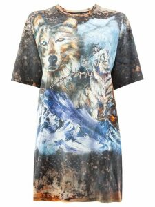 Balmain oversized wolf T-shirt - Multicolour
