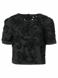 Josie Natori 3D cut out flower detail T-shirt - Black