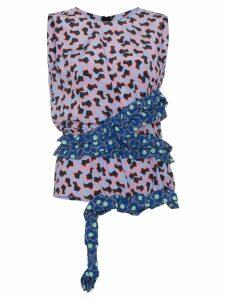 Marni floral top with asymmetric ruffle - Black