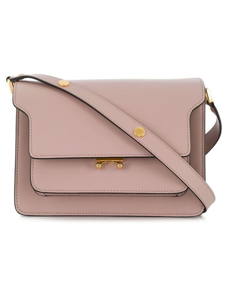 Marni lilac Trunk medium leather shoulder bag - Neutrals