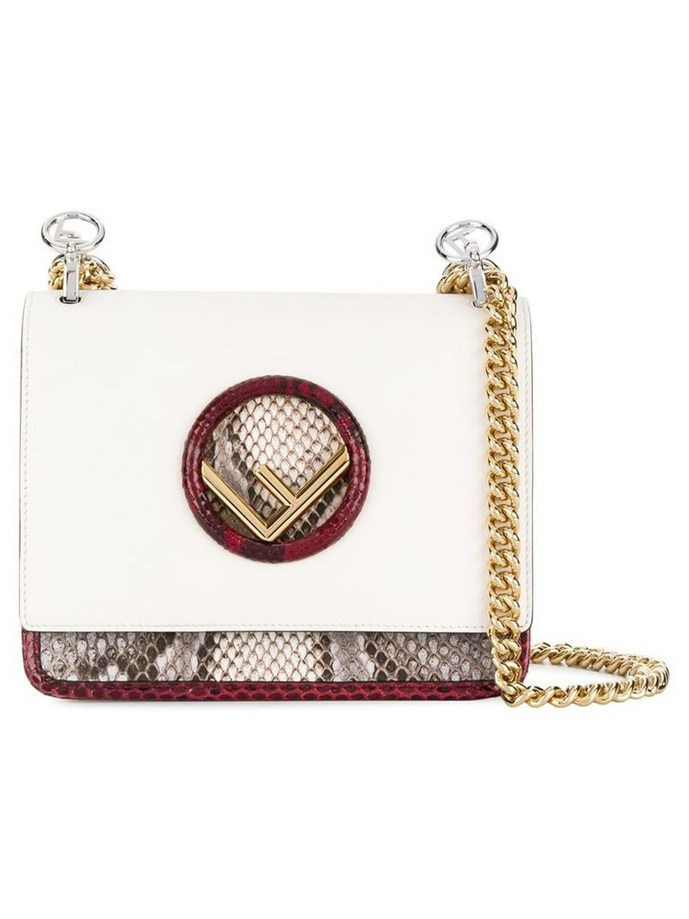 Fendi snake embossed Kan I F bag - White