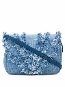 Elena Ghisellini distressed trim flap handbag - Blue