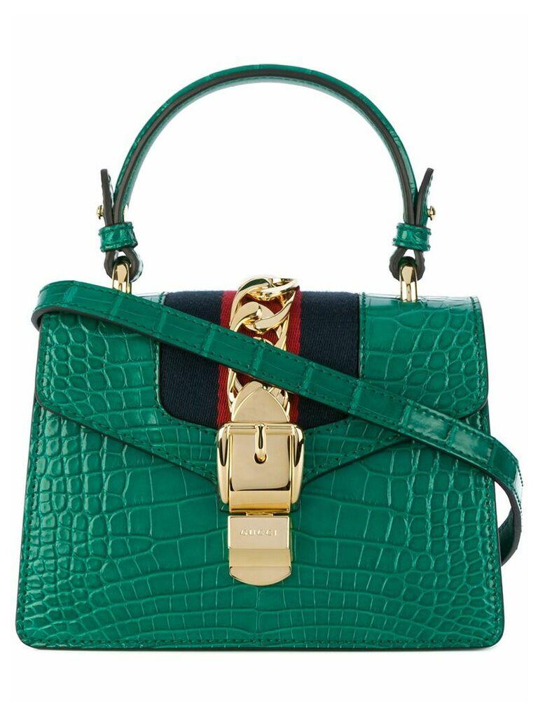 Gucci Green Sylvie crocodile tote bag