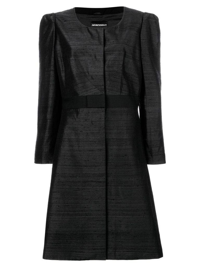 Giorgio Armani Vintage collarless flared coat - Black