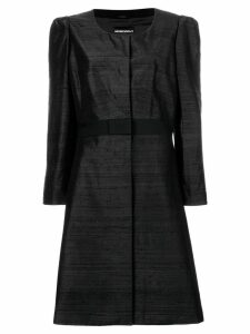 GIORGIO ARMANI PRE-OWNED collarless flared coat - Black