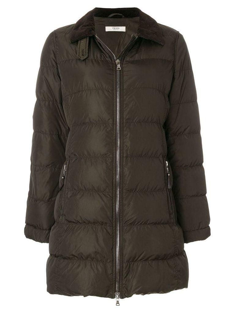 Prada Vintage zipped padded coat - Brown