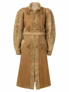 CHRISTIAN DIOR PRE-OWNED Mandarin knot toggled coat - Brown