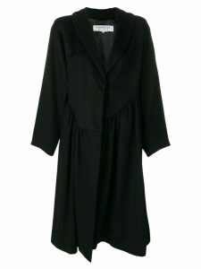 Yves Saint Laurent Pre-Owned gathered ruffled midi coat - Black