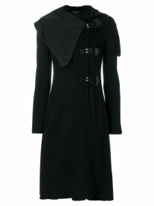 Giorgio Armani Pre-Owned oversized asymmetric lapels coat - Black