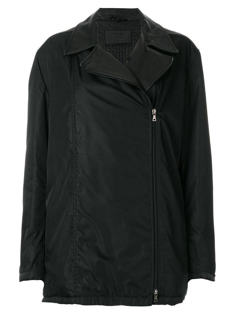 Prada Vintage off-centre zipped coat - Black