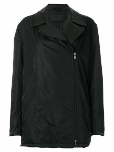 PRADA PRE-OWNED off-centre zipped coat - Black