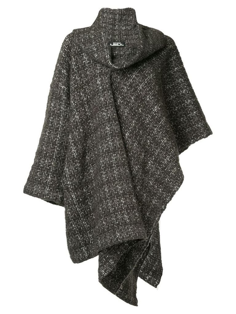Issey Miyake Vintage plaid knitted coat - Brown