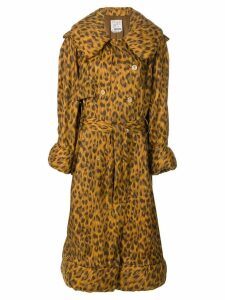 Moschino Pre-Owned leopard print padded raincoat - Brown