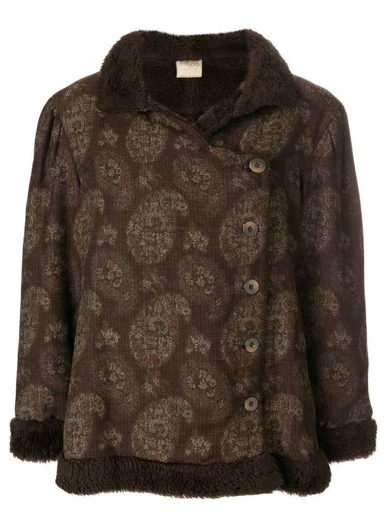 Krizia Vintage paisley pattern short coat - Brown