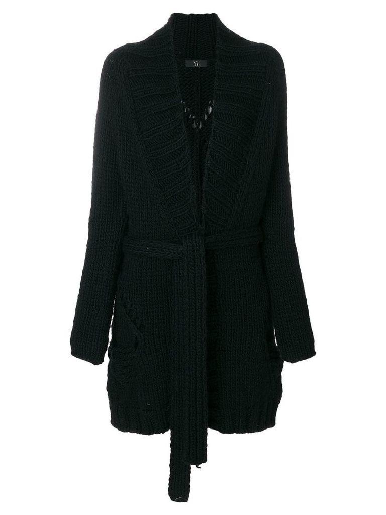 Yohji Yamamoto Pre-Owned chunky belted coat - Black