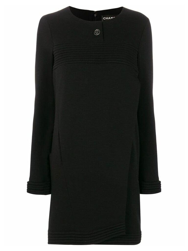 Chanel Vintage ribbed detail boxy dress - Black