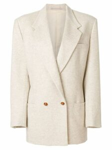 Versace Pre-Owned long-line double breasted blazer - NEUTRALS