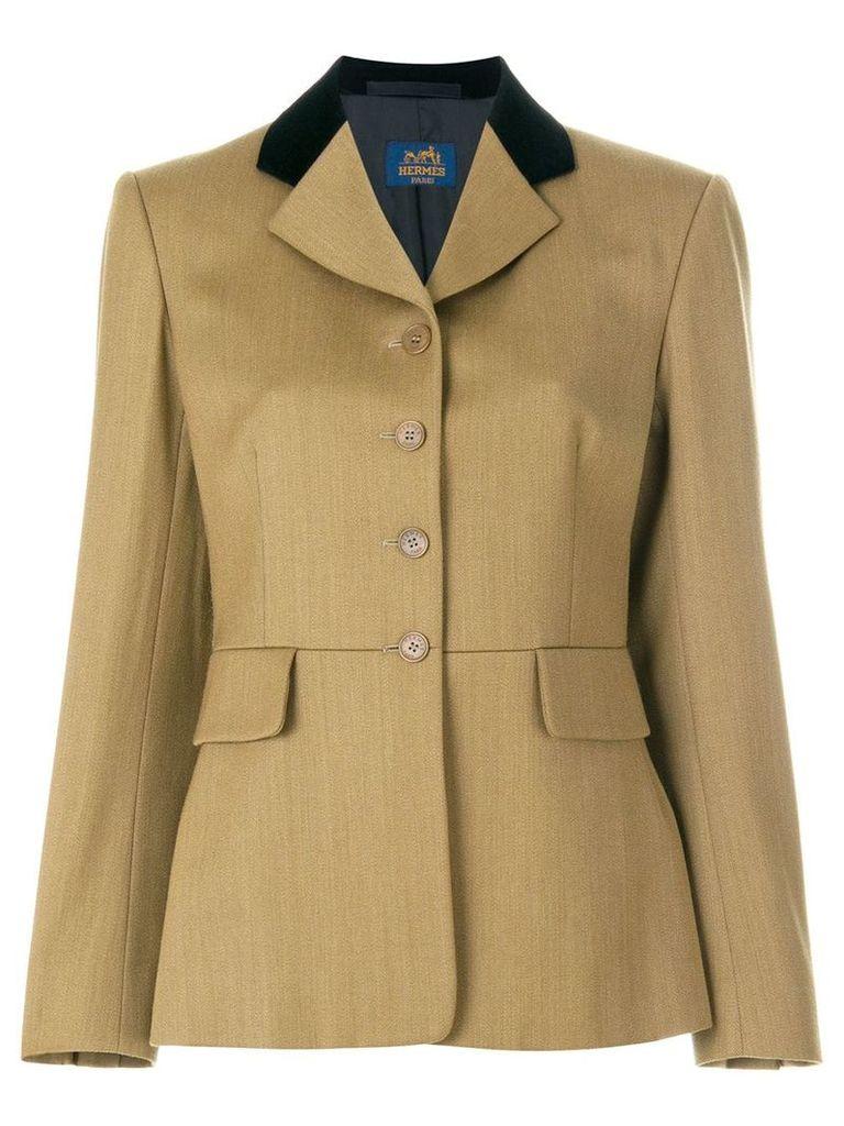 Hermès Vintage contrasting lapel boxy blazer - Brown