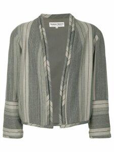 Giorgio Armani Pre-Owned striped collarless jacket - Grey