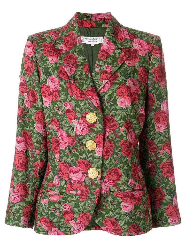 Yves Saint Laurent Vintage roses printed blazer - Green