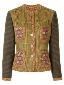 Moschino Pre-Owned plaid collarless jacket - Multicolour