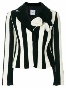 Moschino Pre-Owned flower appliquée striped blazer - Black