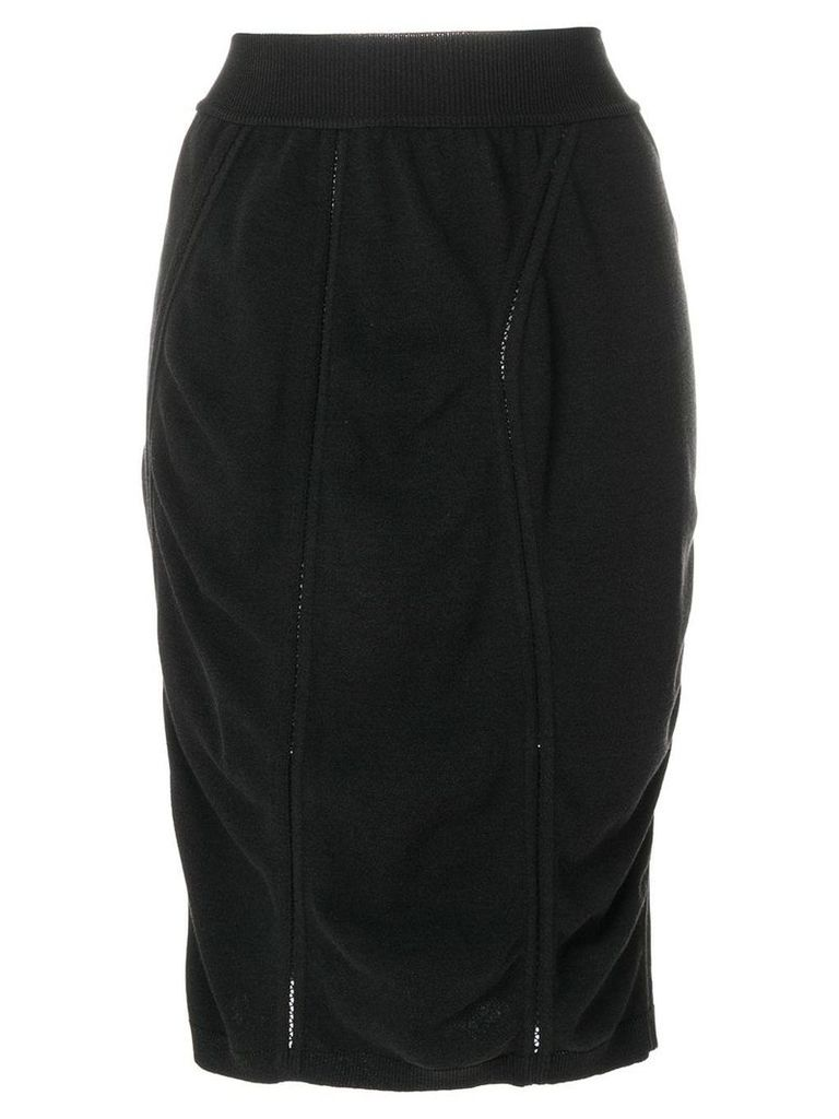Alaïa Vintage midi draped pencil skirt - Black