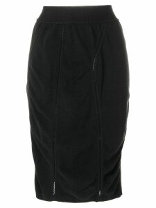 Alaïa Pre-Owned 1980's midi draped pencil skirt - Black