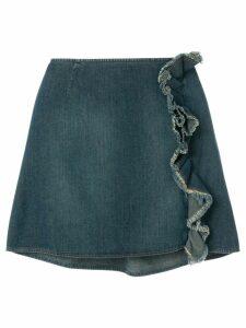 Moschino Pre-Owned ruffled denim skirt - Blue
