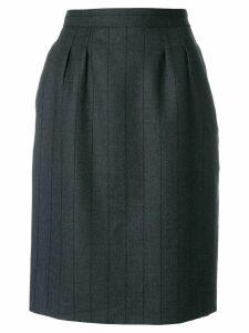 Yves Saint Laurent Pre-Owned tonal stripe straight skirt - Grey