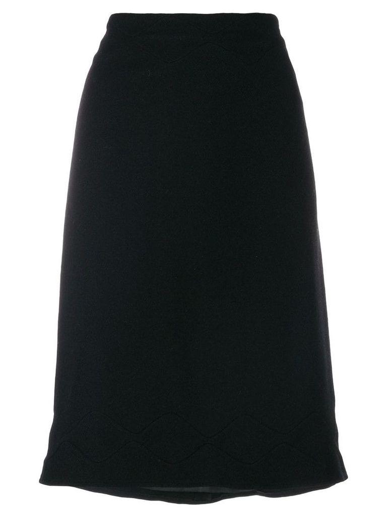 Jil Sander Pre-Owned scallop stitch detail skirt - Black