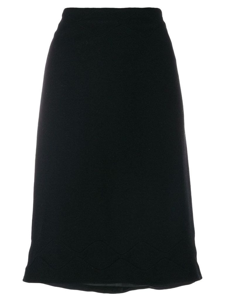 Jil Sander Vintage scallop stitch detail skirt - Black