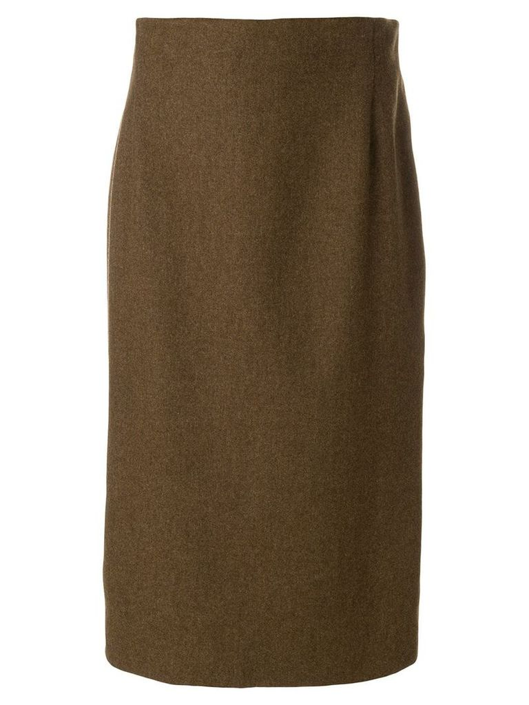 Krizia Pre-Owned straight midi skirt - Brown