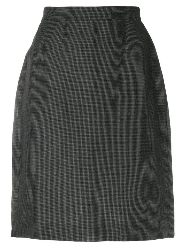 Krizia Vintage micro check-print pencil skirt - Grey