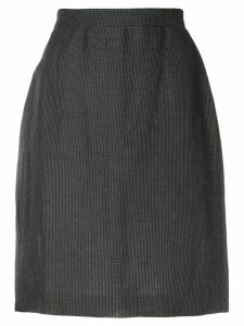 Krizia Pre-Owned micro check-print pencil skirt - Grey