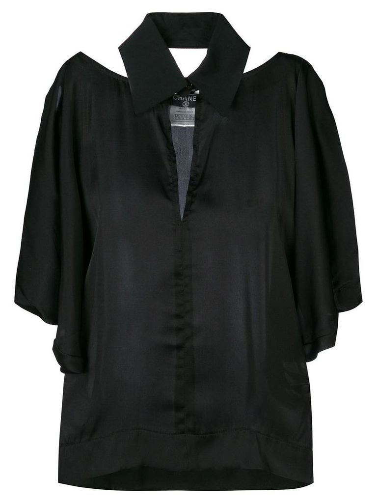 Chanel Vintage 2000 cut-out collared blouse - Black
