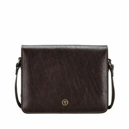 Maxwell Scott Bags Finely Crafted Brown Small Leather Crossbody Bag
