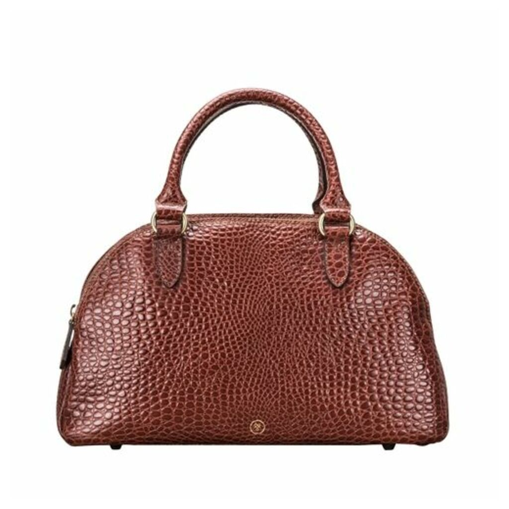 Maxwell Scott Bags Sleek Faux Croc Tan Leather Ladies Bowling Bag