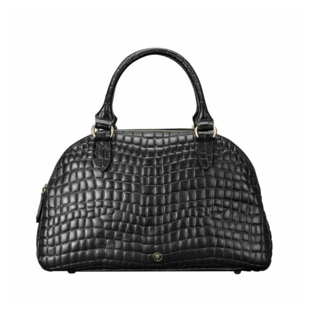Maxwell Scott Bags Stylish Faux Croc Leather Ladies Bowling Bag In Black