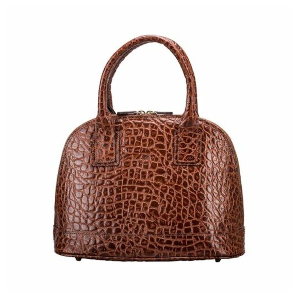 Maxwell Scott Bags Rosa Croco Tote Handbag
