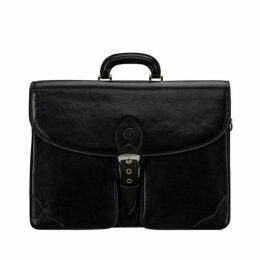 Maxwell Scott Bags Handmade Black Real Leather Briefcase For Men