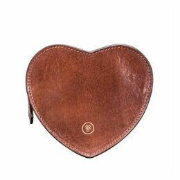 Maxwell Scott Bags Elegant Tan Leather Heart Shaped Handbag Tidy