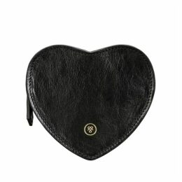 Maxwell Scott Bags Full Grain Black Leather Heart Shape Handbag Organiser