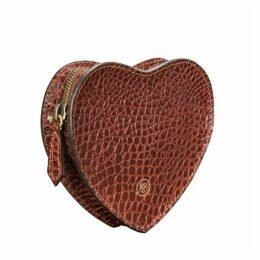 Maxwell Scott Bags Tan Croc Embossed Leather Heart Handbag Organiser