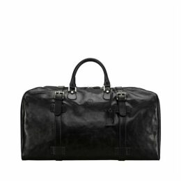 Maxwell Scott Bags Timeless Full Grain Black Leather Duffle Bag