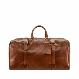 Maxwell Scott Bags Classic Italian Tan Leather Travel Holdall For Men