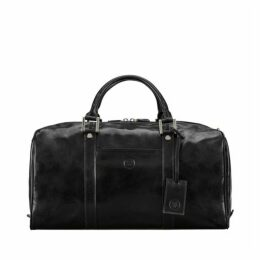 Maxwell Scott Bags High Quality Leather Travel Bag For Men In Black